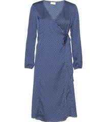 vidotta l/s wrap midi dress/ka knälång klänning blå vila