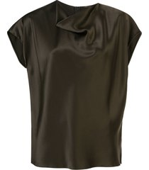 adam lippes cowl neck blouse - green