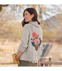 sundance catalog women's lula bloom cardigan in heather gray xs/s