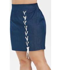 plus size lace-up high waisted mini denim skirt