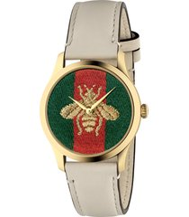 women's gucci g-timeless bee leather strap watch, 38mm