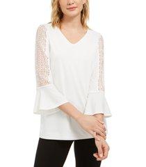 kasper crochet-sleeve v-neck knit top