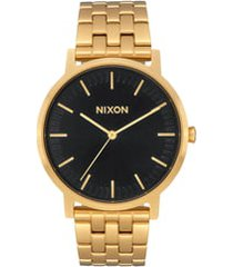 nixon porter bracelet watch, 40mm in all gold /black at nordstrom