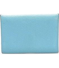 hermes calvi card holder blue, light blue sz: