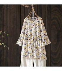 zanzea para mujer de la llamarada de la manga del cuello de o impreso floral tops camisas ocasionales flojas de la blusa -amarillo