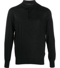 billionaire fine knit polo top - black