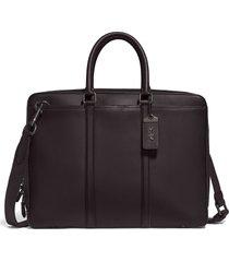 men's coach metropolitan slim leather briefcase - brown
