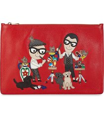 dolce & gabbana women's leather graphic pouch - red
