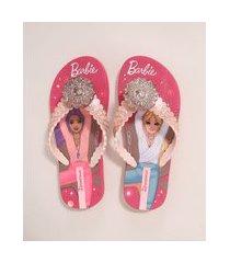 chinelo infantil estampado barbie zen ipanema rosa