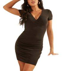 guess ruched v-neck sheath dress