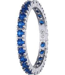 anello in argento con zirconi blu per donna