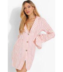 gestreepte linnen blazer jurk met mouw strikjes, dusky pink
