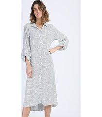 vestido chemise feminino midi estampado de poá manga longa off white