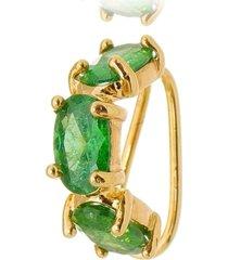 brinco piercing esmeralda oval banhado a ouro 18k