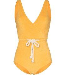 lisa marie fernandez yasmin belted swimsuit - yellow
