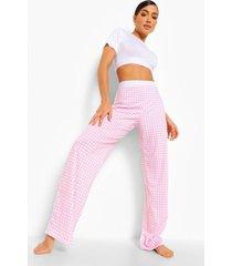 woman gingham pyjama met streep, red