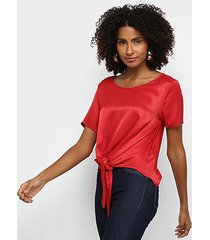 blusa morena rosa decote redondo amarração na frente feminina