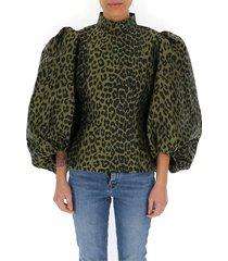 blouse met pofmouwen in luipaardjacquard