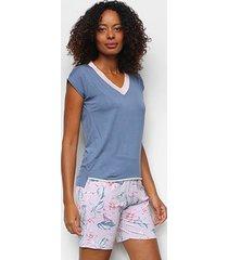 pijama cor com amor shorts bermudoll manga curta floral feminino - feminino