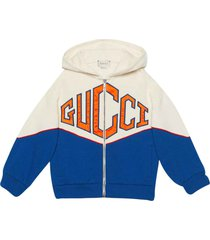 gucci white and blue hoodie with frontal logo
