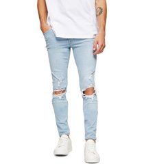 men's topman polly blowout ripped skinny fit jeans, size 30 x 32 - blue