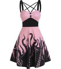 criss cross octopus print mock button dress