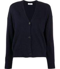 closed relaxed-fit knitted cardigan - blue