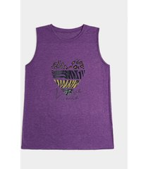 camiseta sin mangas con estampado de corazones y rayas de leopardo y cebra