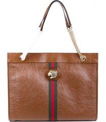 gucci rajah large brown leather web stripe tote bag brown sz: n