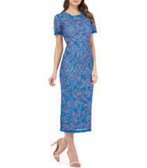 women's js collections soutache cocktail midi dress, size 10 - blue