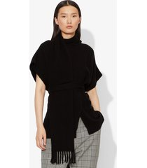 proenza schouler draped scarf cashmere short sleeve knit pullover black s