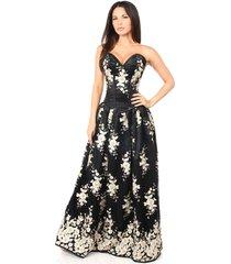 sexy elegant black floral embroidered steel boned long corset dress