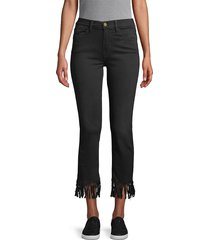 frame denim women's le high straight fringe-hem jeans - black - size 24 (0)