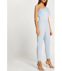 river island womens blue bandeau feather hem tapered jumpsuit