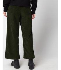 kenzo women's flared corduroy trousers - dark khaki - eu38/uk8