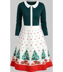 christmas tree buttons peter pan collar dress