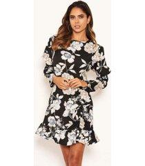 ax paris women's floral print long puff sleeve dress