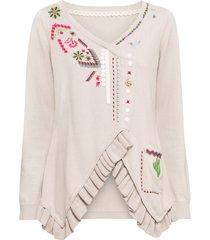 maglione con fondo asimmetrico (beige) - rainbow