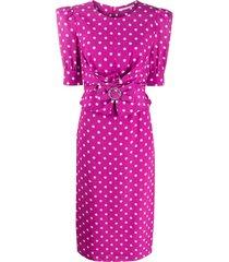 alessandra rich polka dot fitted dress - purple