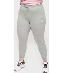 pantalón de buzo nike w nsw essntl pant tight flc mr gris - calce ajustado
