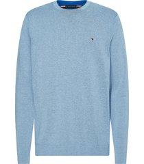 tommy hilfiger pullover lichtblauw regularfit mw0mw17349/c3q