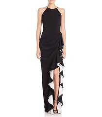 halter contrast ruffle gown