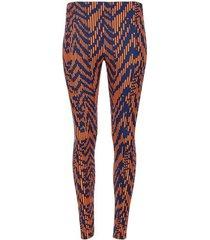 leggings deportivo fondo azul con lineas naranja color azul, talla xs