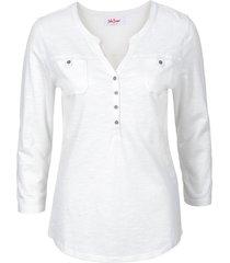maglia serafino in cotone biologico con maniche a 3/4 (bianco) - john baner jeanswear