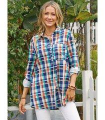 camicetta casual da donna a maniche lunghe con bottoni con stampa scozzese colorata