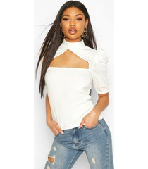 crepe cut out detail top, ivory
