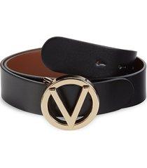 valentino by mario valentino women's giusy logo leather belt - black - size s