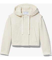 proenza schouler white label bouclé tweed hooded jacket white l