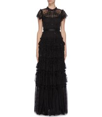 'andromeda' sequin embellished lace trim ruffle tiered tulle gown