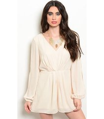 sexy cream party cruise short polyester long split sleeve romper jrs s, m or l